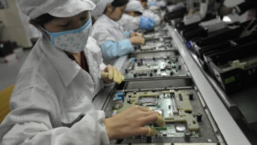 Chinese workers in the Foxconn factory in China's Guangdong province, on May 27, 2010.